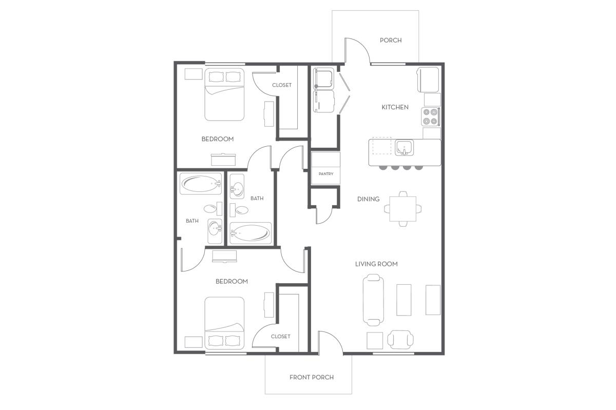 1,234 sq. ft. floor plan
