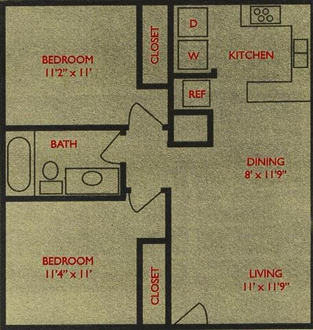 810 sq. ft. Red Oak floor plan