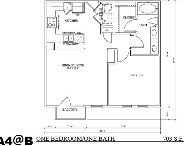 703 sq. ft. A4B floor plan