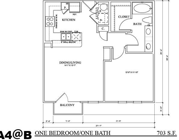 703 sq. ft. A4B floor plan