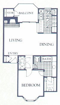 753 sq. ft. CYPRESS floor plan