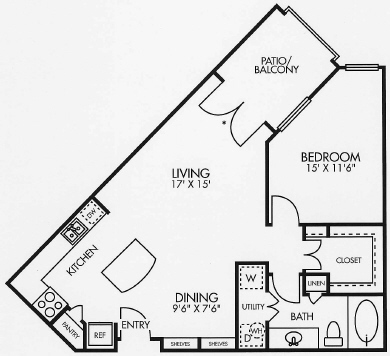 781 sq. ft. A3BAL floor plan
