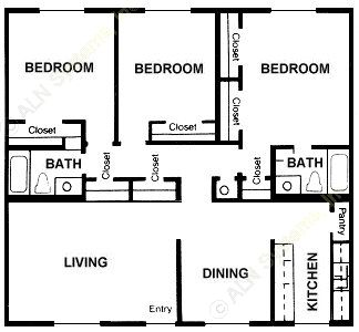 1,343 sq. ft. Mimosa floor plan