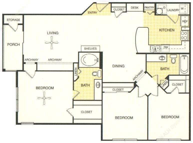 1,313 sq. ft. Greune floor plan