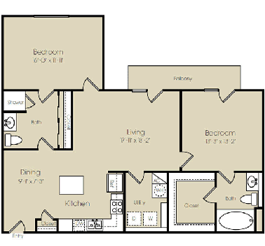 1,217 sq. ft. Liberty floor plan