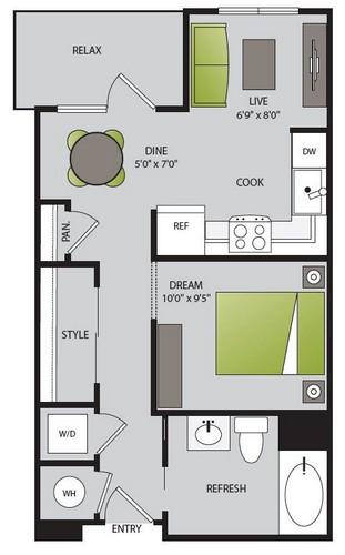 570 sq. ft. S2.1 floor plan