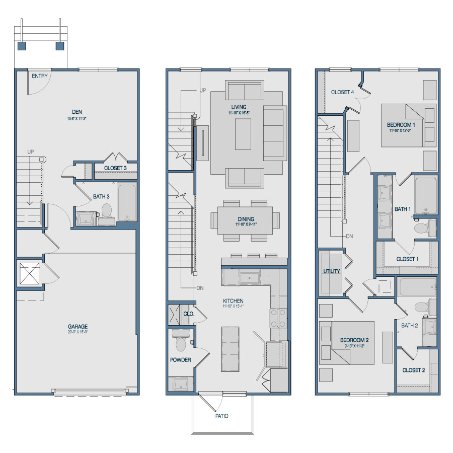 1,588 sq. ft. TH5 floor plan