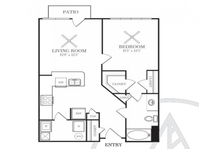 714 sq. ft. A2T floor plan