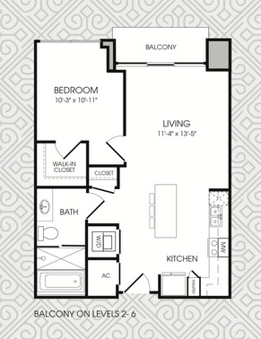 672 sq. ft. to 710 sq. ft. A1 floor plan