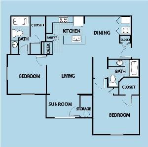 1,200 sq. ft. B35 floor plan