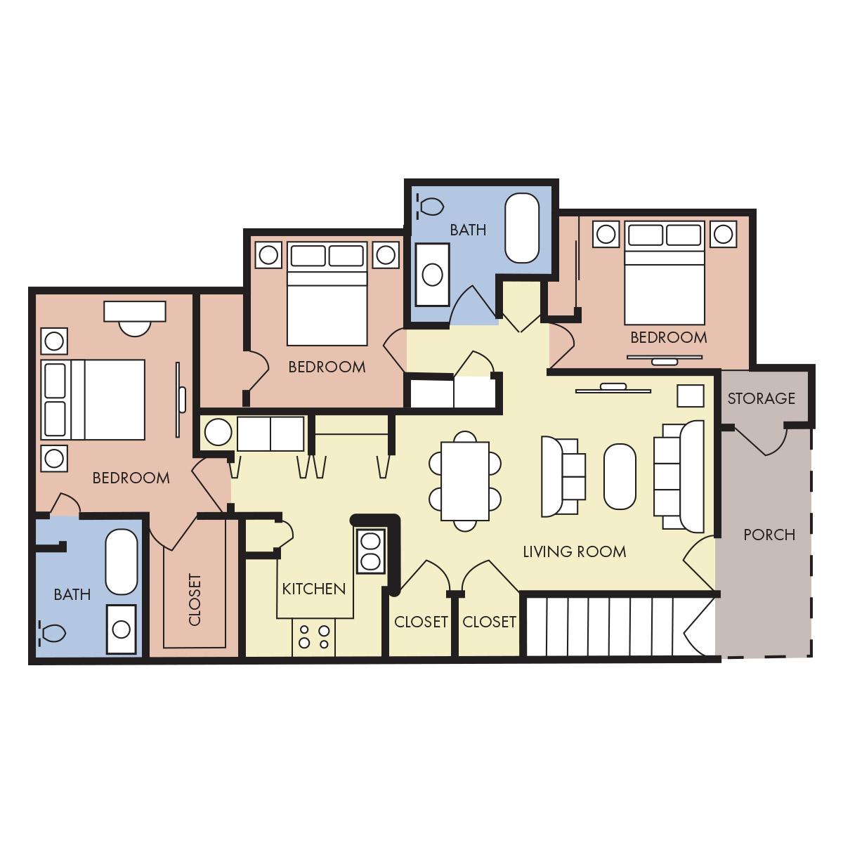1,200 sq. ft. C-40% floor plan