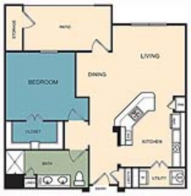 825 sq. ft. Monument floor plan