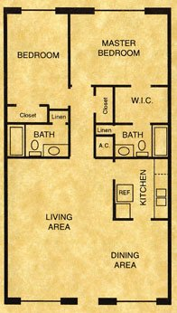 905 sq. ft. B2 floor plan