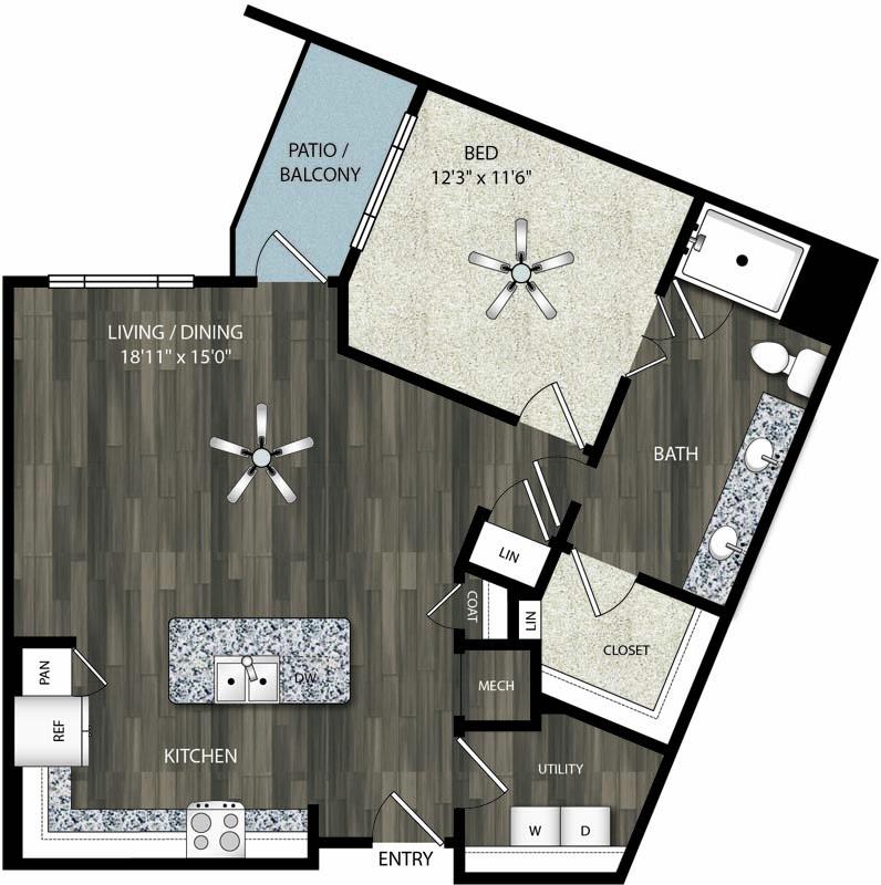 879 sq. ft. A11 floor plan