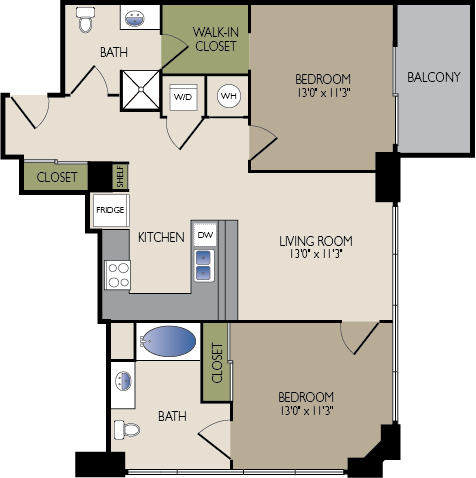 991 sq. ft. A2 HC floor plan