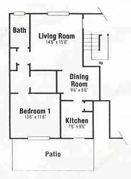 782 sq. ft. A-2 floor plan