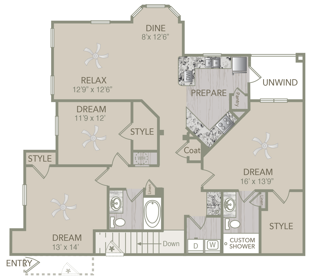 1,585 sq. ft. C1U floor plan