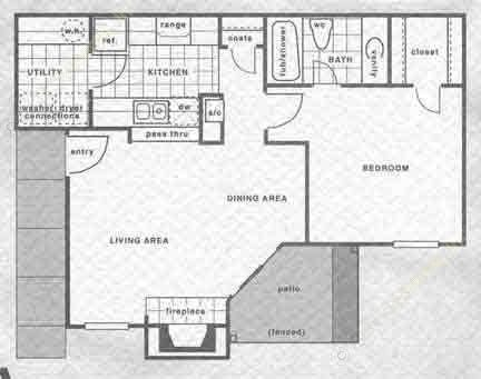 660 sq. ft. A1/A2 floor plan