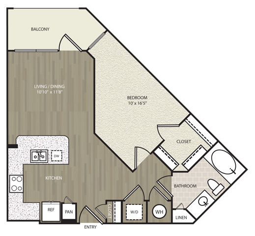 667 sq. ft. E1 floor plan