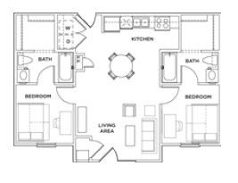 794 sq. ft. 2x2 A floor plan