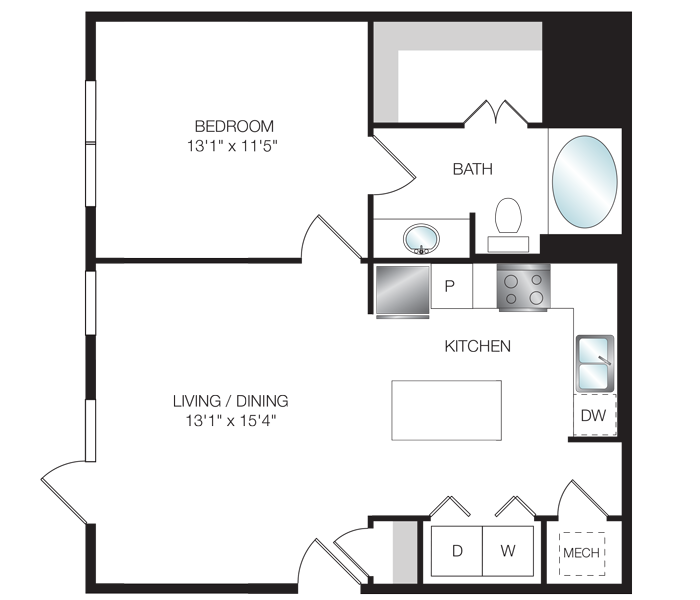 705 sq. ft. A3.3 floor plan