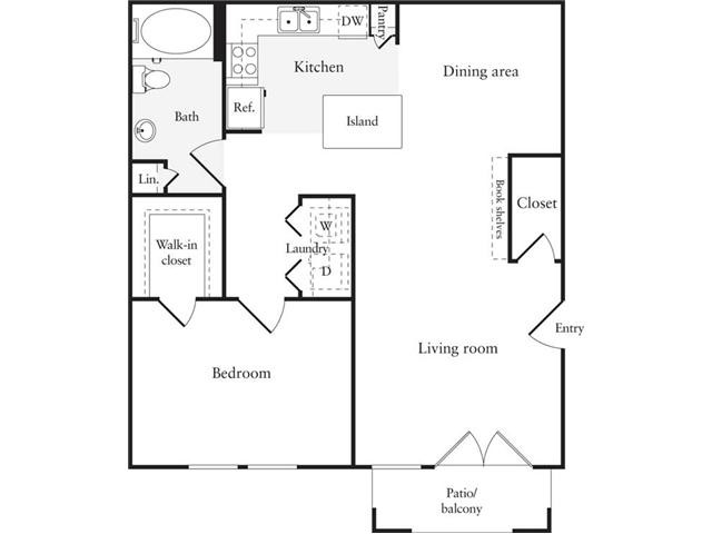 753 sq. ft. A5 floor plan