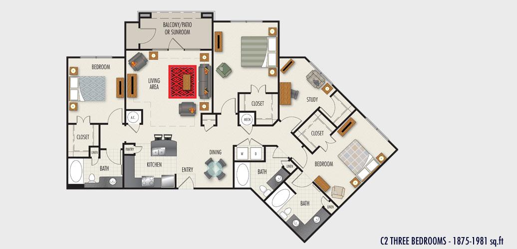 1,875 sq. ft. to 1,993 sq. ft. C2 floor plan