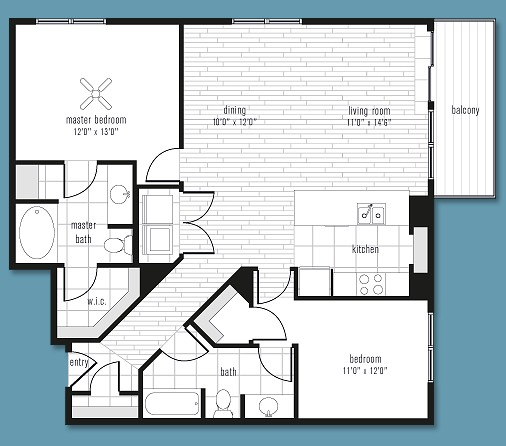 1,188 sq. ft. to 1,263 sq. ft. C floor plan