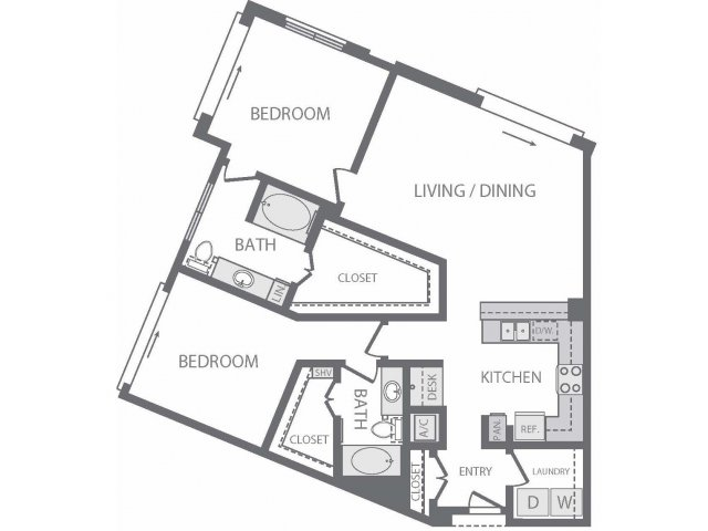 1,235 sq. ft. V floor plan