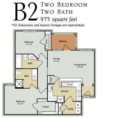 975 sq. ft. B2-60 floor plan