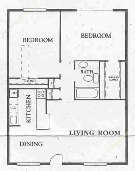 1,000 sq. ft. All Bills floor plan