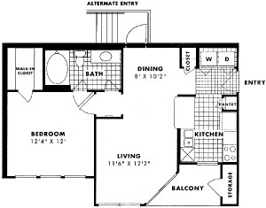 653 sq. ft. Park floor plan