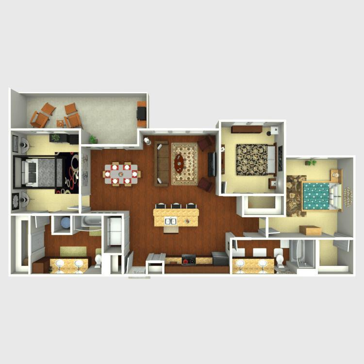 1,364 sq. ft. C1 floor plan