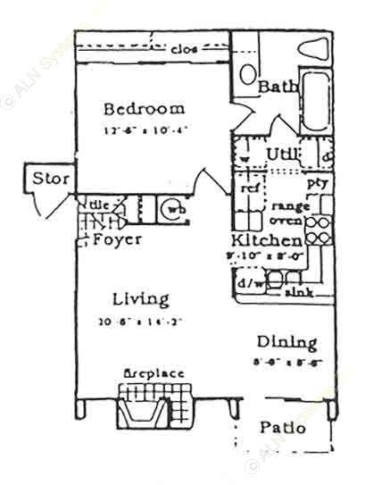 605 sq. ft. B floor plan