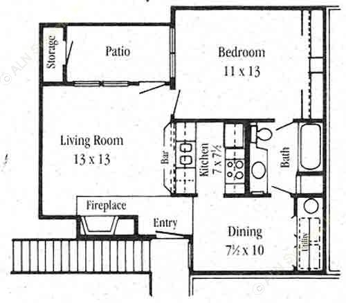 650 sq. ft. A-1 floor plan