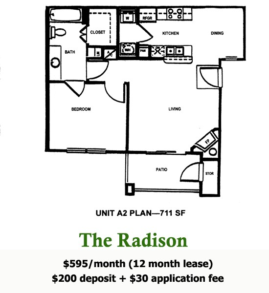 711 sq. ft. RADISON floor plan