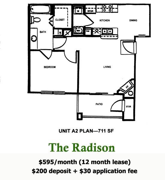 711 sq. ft. Radison floor plan