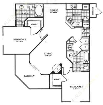 1,137 sq. ft. B2 floor plan