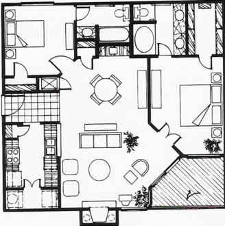 1,044 sq. ft. B floor plan