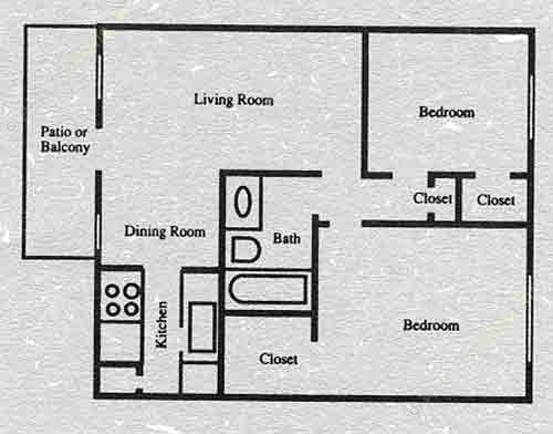 780 sq. ft. B1 floor plan
