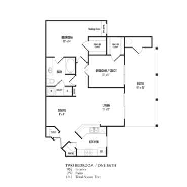 962 sq. ft. Verona floor plan