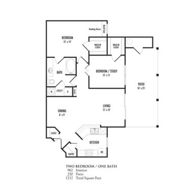 962 sq. ft. Verona floor plan