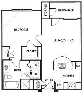 643 sq. ft. A floor plan