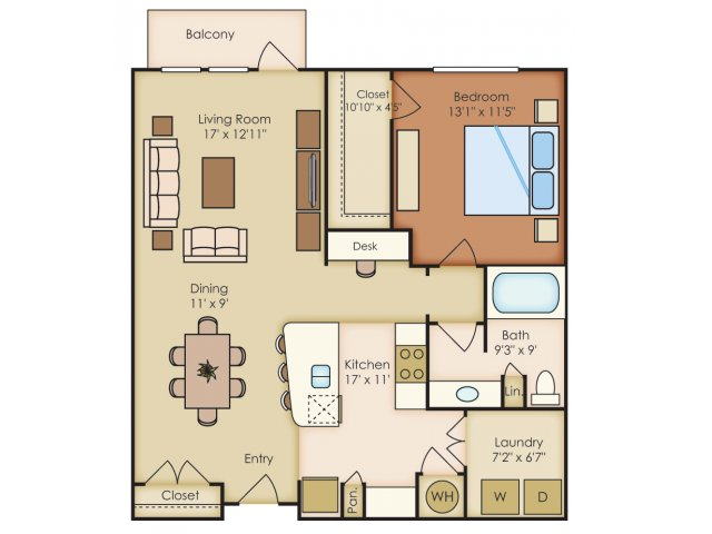 925 sq. ft. A3A floor plan
