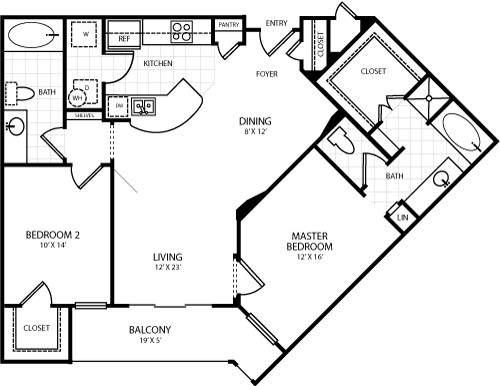 1,175 sq. ft. B5 floor plan