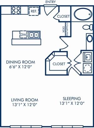 737 sq. ft. II/A3D floor plan