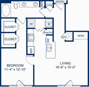 838 sq. ft. A4 floor plan