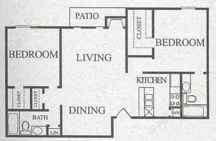 941 sq. ft. B2 floor plan