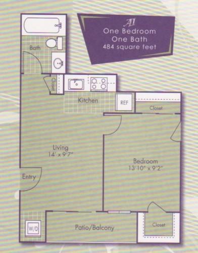 484 sq. ft. Rembrandt floor plan