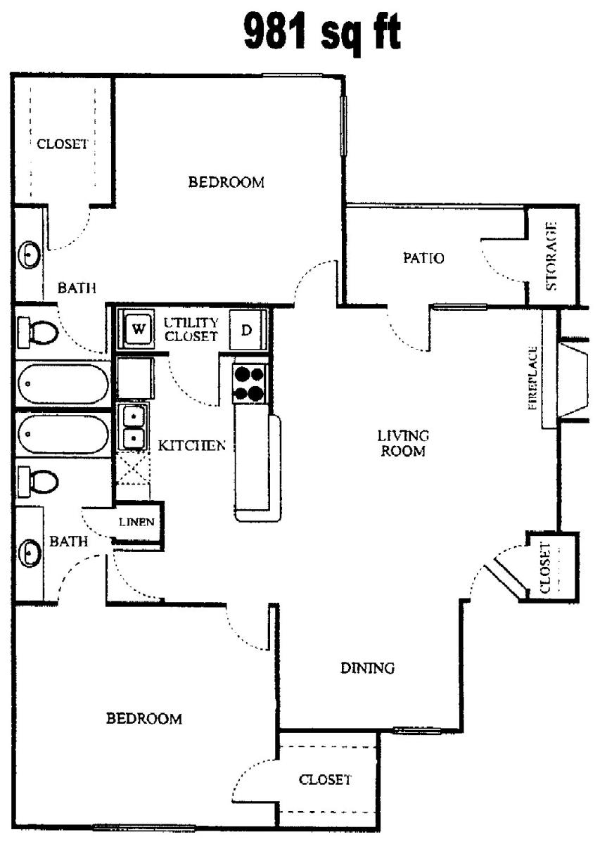 981 sq. ft. B1 Barcelona floor plan